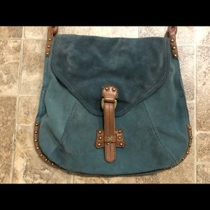 Lucky brand teal leather suede hobo bag purse